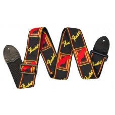 Kitarahihna Fender Monogrammed kangas BLACK/YELLOW/RED